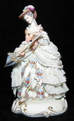 Dresden Porcelain Lace Figurine Of A Woman With Umbrella