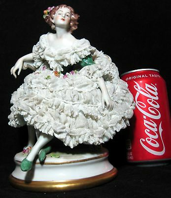 Large Volkstedt Capodimonte Dresden Porcelain Lace Figurine