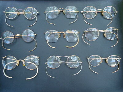 Lot of 9 Pair of Antique Gold Filled Eye Glasses Some Fancy