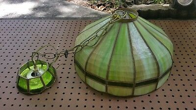 Vintage green & brown stained glass style hanging ceiling light fixture