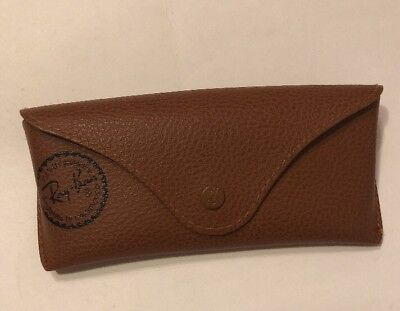 Ray Ban Luxottica Sunglasses Glasses Case Brown Snap Closure Pebbled Case Only