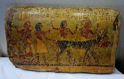 RARE ANCIENT EGYPTIAN ANTIQUE POTTERY FRAGMENT Harvest Scene Tomb of Sennedjem
