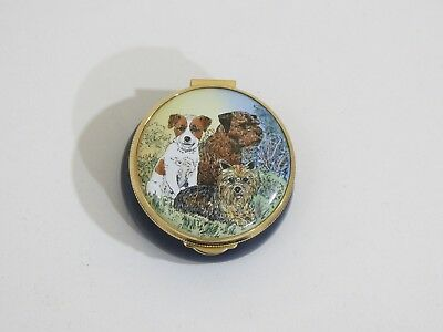 Staffordshire English Enamel Box - Dogs, Hand Painted