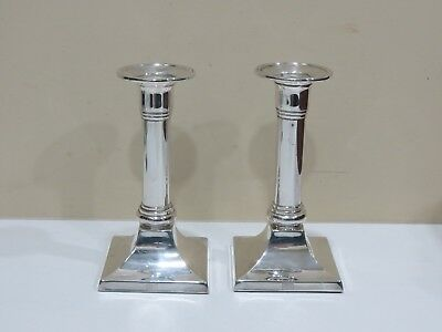 Vintage Pair of Weighted Empire Sterling Silver Candlestick Holders