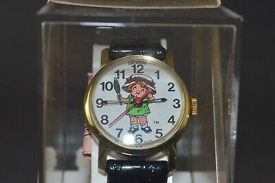 Vintage Original Edition 1982 Campbell Kids Wrist Watch Black Band Girl in box