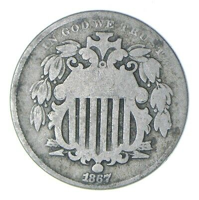 First US Nickel - 1867 Shield Nickel - US Type Coin - Over 100 Years Old! *462