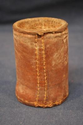 Vintage Antique Leather Dice Shaker Cup-Bar Tavern Gambling-Hand Sewn