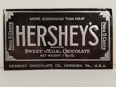 1930's Vintage Hershey's Milk Chocolate Candy Bar Wrapper Five Cents Pa Cocoa
