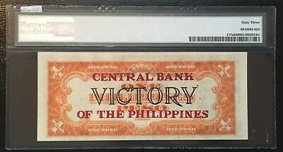Rare 1949 US Philippines 1 one Peso P.117a Central Bank Ovpt. PMG63