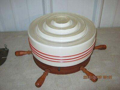 Vintage Ceiling Light Fixture Glass Globe Shade Red Stripes
