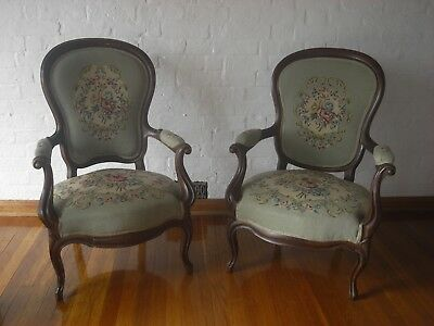 2 x french louis XV antique armchairs carved