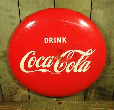 "Vtg Metal Drink Coca Cola 16"" Button Advertising Sign"