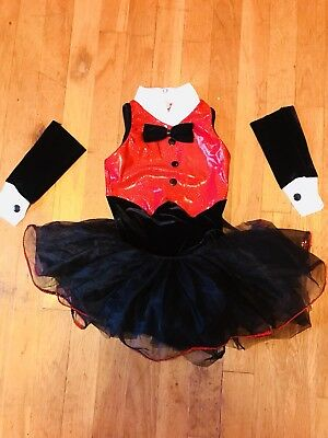 Red and Black Tap or Jazz Costume - Girls Size Small - Art Stone