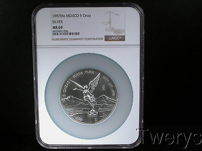 1997Mo Mexico Silver 5 Ounces 5 Onzas Ngc Ms 69