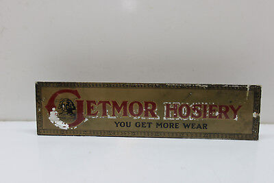 ANTIQUE 1920s GETMOR HOSIERY GLASS ADVERTISING STORE SIGN - RARE