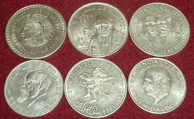 LOT of 6 LARGE VINTAGE MEXICO .720 & .900 SILVER COINS, 1948 - 1968, 145.5 Gms.