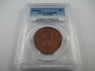 1964 (m) AUSTRALIA ONE PENNY COIN PCGS MS64RB GRADED . A BEAUTY!!!