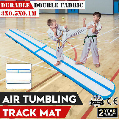 10Ft Air Track Floor Tumbling Inflatable Gym Mat 4in Thick Training Water Sport