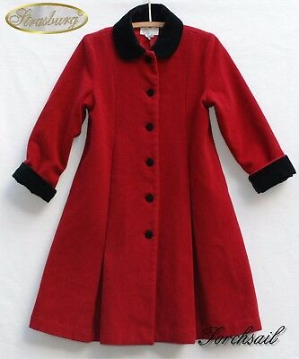 STRASBURG Wool Winter dress Coat Kids Girls sz 8 8Y Red Black Velvet Full Length