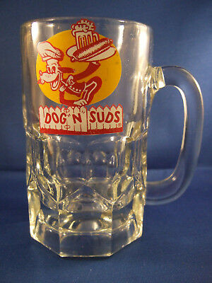Vintage 1960's Glass Dog N Suds Root Beer Mug 6 inches tall