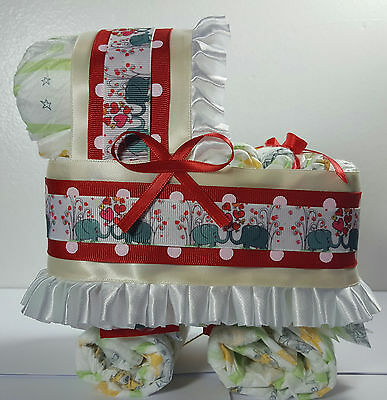 Diaper Cake Bassinet Carriage Baby Shower Neutral - Red Cream, Elephant Theme