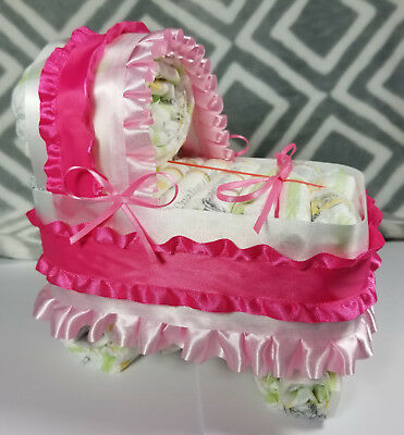 Diaper Cake Bassinet/Carriage - Light Pink, and Pink Ruffles