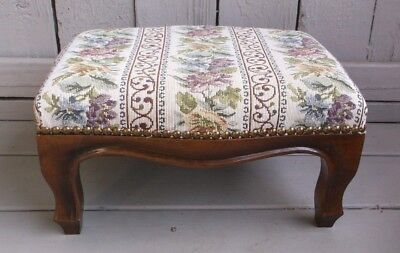 Antique Queen Anne Style Decorator Footstool With Nail Heads