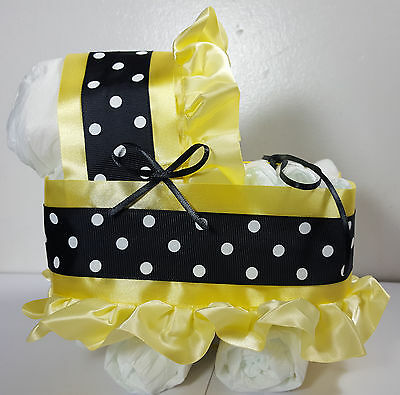 Diaper Cake Beautiful Bassinet Carriage Baby Shower Neutral - Yellow Black/White