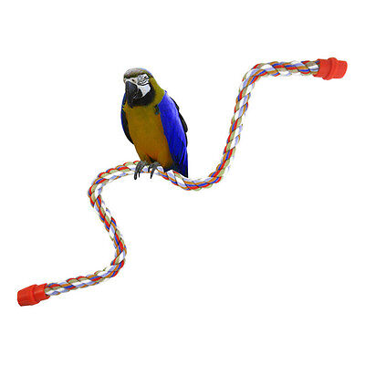 Bird Parrot Rope Cockatiel Parakeet Conure Cage Standing Perch Chew Peck Toy  QW