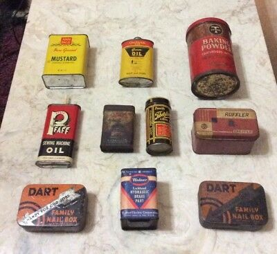 VTG LOT 10- VARIOUS TINS Oil NAIL SPICE CAN LABEL GROCERY GENERAL STORE ANTIQUE