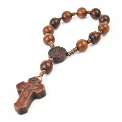 Small Dark Brown Rope Fine Wooden Beads Religious Rosary With Brown Cross