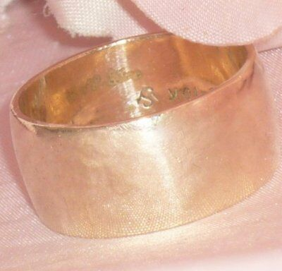 VERY WIDE** ANTIQUE DECO 10K 10CT GOLD GF CIGAR BAND WEDDING RING R or 8 1/2