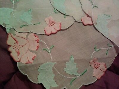 4 Beautiful Madeira Embroidered Linen/Organdy Coasters Rose Design 10""