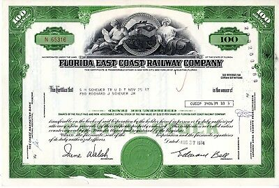 Florida East Coast Railway Company 1970s-1980s Stock Certificate - green
