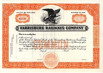 Harrisburg Railways Company of Pennsylvania 19?? Stock Certificate