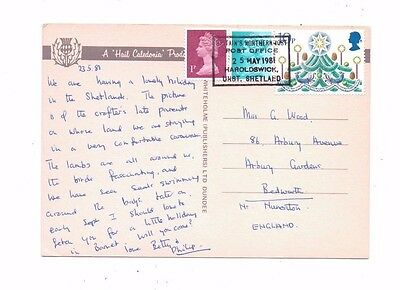 Postmark Slogan BRITAIN Northernmost Post Office 1981 G Wood Postcard Shetland