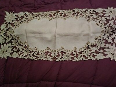"""Beautiful Madeira Embroidered Linen Runner 31"""" by 14"""""""