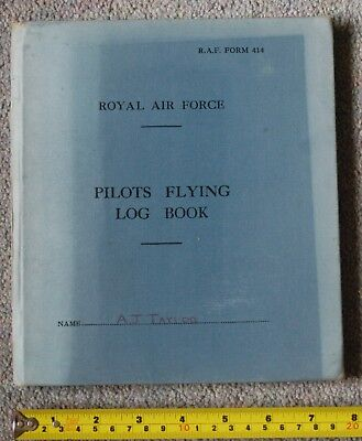 Raf Pilots Flying Log Book A J Taylor Rank A.p.o. Provost Vampire T11 1959-60