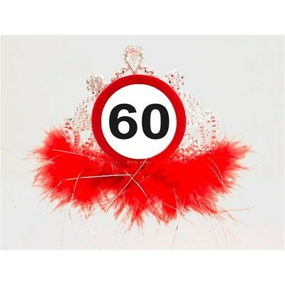 Tiara Verkeersbord 60 - Traffic 60th Birthday Sign Feathers Party