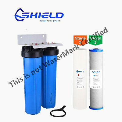 """Whole House  Water Filter System 20"""" x 4.5"""" Big Blue (2 stages) Sediment Carbon"""