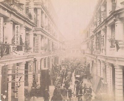 Original Photo Street Scene Hong Kong China C1880