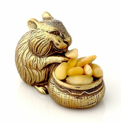 Hamster Brass Figurine Miniature Sculpture with Genuine Baltic Amber Nuggets