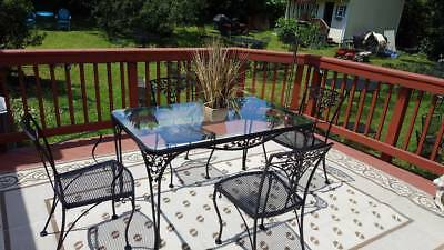 LEE WOODARD & SONS ORLEANS Dining set, 5 pc Heavy Wrought Iron Set, Vintage  EUC