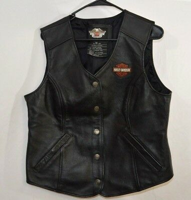 Women's Genuine Leather Harley Davidson Vest (size XL) Motor Cycle Vest (22)