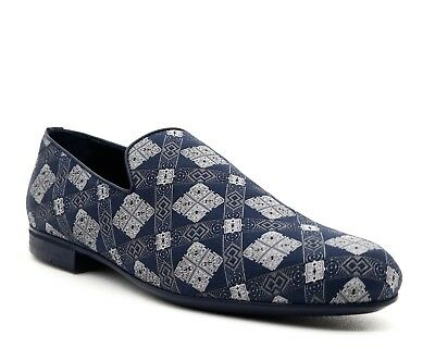 561865bc168 JIMMY CHOO LOAFERS Sloane Blue Fabric Slip On Shoes Size 11.5 New ...