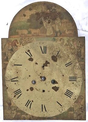 Lovely Antique Long Case Grandfather Clock Arched Dial Four Continents