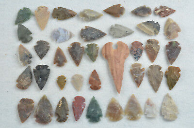 """39 PC Flint Arrowhead Ohio Collection Points 1-3"""" Spear Bow Knife Hunting Blade"""