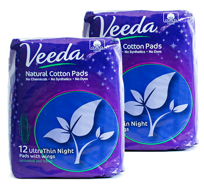 Veeda Ultra Thin Night Pads with Wings, Natural Cotton, 2 Packs of 12 Count Each