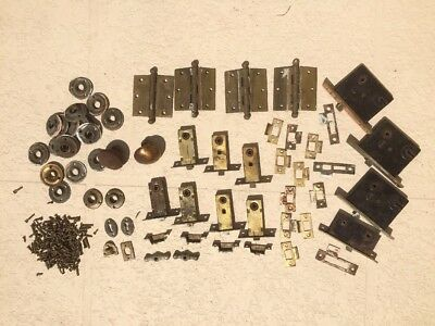 Large lot of Vintage brass door hardware knobs latches plates screws parts +