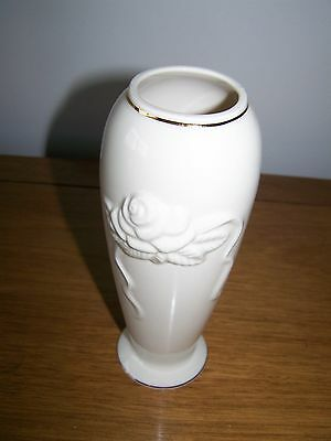 LENOX Bud Vase With Rose Embossed Design Ivory w/Gold Trim 7-1/2""""